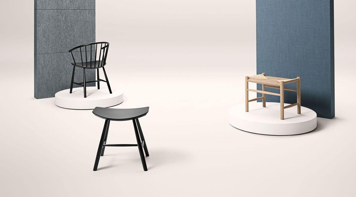 Sgabello design scandinavo in legno laccato nero j by