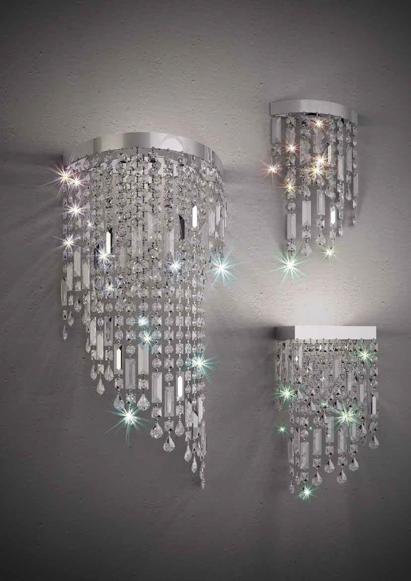 Applique moderna / in cristallo / led / fluorescente compatta ...
