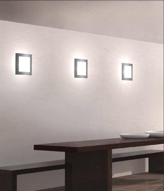 Applique moderna / in vetro / a lampada fluorescente / quadrata ...
