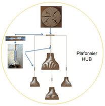 Lampada a sospensione / design originale / in legno / da interno