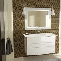 Mobile lavabo sospeso / in legno / moderno / con specchio