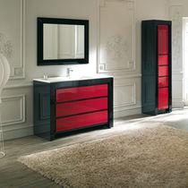Mobile lavabo da appoggio / in legno / moderno / con specchio