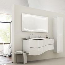 Mobile lavabo sospeso / impiallacciato in legno / moderno / con specchio