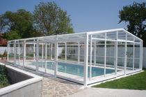 Copertura per piscina alta / telescopica / in policarbonato / in metallo
