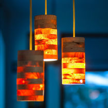 Lampada a sospensione / moderna / in legno / da interno