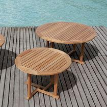 Tavolo moderno / in teak / rotondo / da giardino
