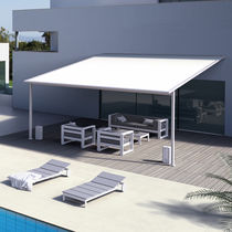Pergola addossata / in alluminio / con copertura scorrevole / su misura