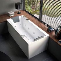 Vasca da bagno da appoggio / in legno / in acrilico / per cromoterapia