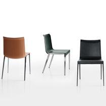 Sedia moderna / in pelle / in alluminio / marrone
