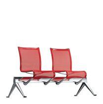 Sedute su barra in alluminio / in tessuto / in pelle / 3 posti