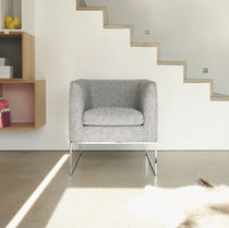 Poltrona design minimalista / in tessuto / in pelle / a slitta