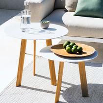 Tavolo d'appoggio moderno / in teak / in alluminio / rotondo