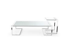 Tavolino basso moderno / in metallo / in vetro temprato / rettangolare