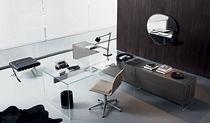 Scrivania multimedia / in alluminio / in acciaio inox / in vetro