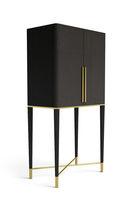 Mobile bar moderno / in ottone / in frassino / con illuminazione incorporata