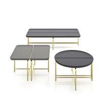 Tavolino basso moderno / in metallo / in legno laccato / rotondo