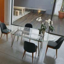 Tavolo moderno / in vetro / in acciaio / ovale