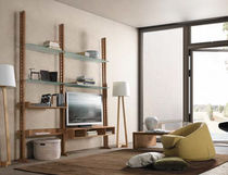 Scaffale moderno / in legno / in vetro / da sala