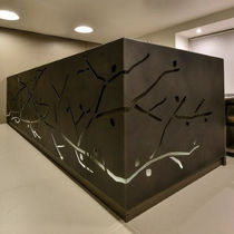 Banco reception d'angolo / in metallo / luminoso
