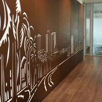 Pannello decorativo in metallo / da parete / per interni / retroilluminato