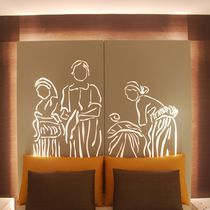 Testiera per letto matrimoniale / design originale / in metallo / con luce integrata