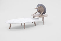 Tavolino basso moderno / in vetro / in marmo / impiallacciato in legno
