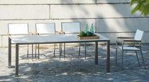 Tavolo moderno / in ceramica / in acciaio inossidabile / rettangolare