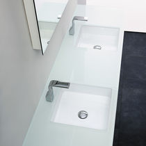 Lavabo doppio / sottopiano / quadrato / in ceramica