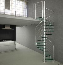 Scala a chiocciola / con gradini in vetro / con struttura in acciaio inossidabile / senza alzata