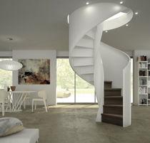 Scala elicoidale / con gradini in legno / con struttura in acciaio inossidabile / con alzata