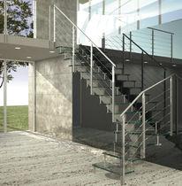 Scala a L / con gradini in vetro / con struttura in acciaio inossidabile / senza alzata