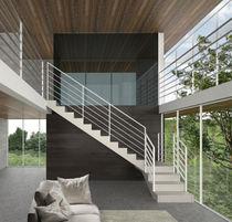 Scala a L / con gradini in legno / con struttura in legno / con alzata