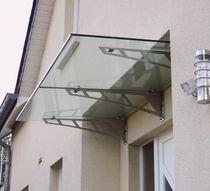 Pensilina da ingresso / in vetro / in acciaio inox / prefabbricata