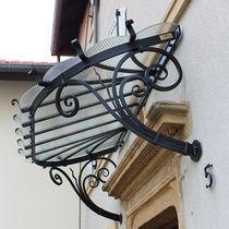 Pensilina da ingresso / in vetro / in ferro modellato / prefabbricata
