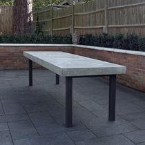 Tavolo da pranzo moderno / in cemento / in metallo verniciato / rettangolare
