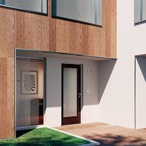 Porta d'ingresso / battente / in legno / in vetro