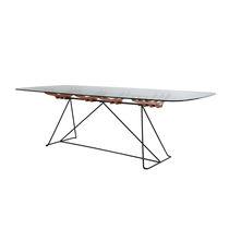 Tavolo da pranzo / moderno / in acciaio / in legno