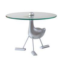 Tavolo d'appoggio design originale / in vetro / in alluminio / rotondo