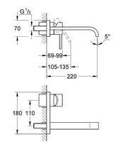 Miscelatore per lavabo / da parete / in metallo cromato / da bagno