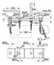Miscelatore per vasca / in metallo cromato / da bagno / 4 fori