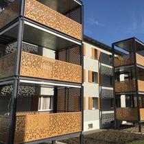 Ringhiera in HPL / a pannelli / da esterno / per balcone