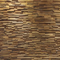Pannello decorativo in teak / da parete / a effetto dimensionale / in materiale riciclato