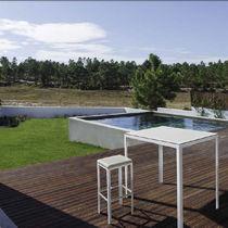Tavolo alto moderno / in acciaio laccato / in alluminio / rettangolare