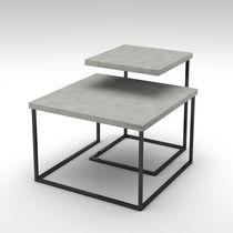 Tavolino estraibile moderno / in acciaio verniciato / in calcestruzzo / quadrato