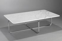 Tavolino basso design Bauhaus / in marmo / in acciaio / per edifici pubblici