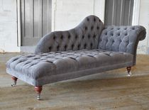 Chaise longue chesterfield / in tessuto / con rotelle