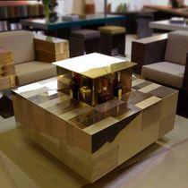 Tavolino basso moderno / in acciaio inossidabile lucido / quadrato / professionale