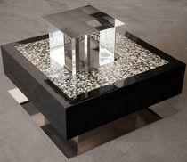 Tavolino basso moderno / in acciaio inossidabile lucido / quadrato / da interno
