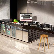 Cucina moderna / in acciaio inox / con isola / compatta