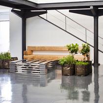 Panca moderna / in quercia / con schienale / per uso residenziale